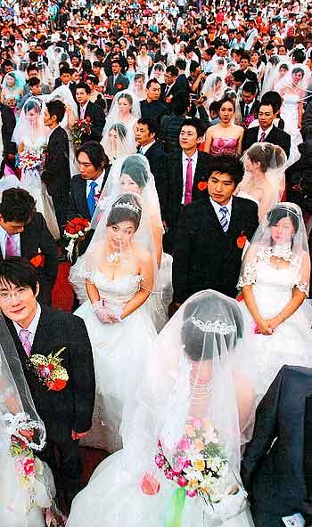 массовая свадьба в Китае