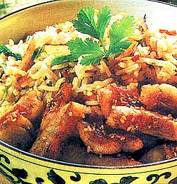 Утиная грудка с рисом и овощами